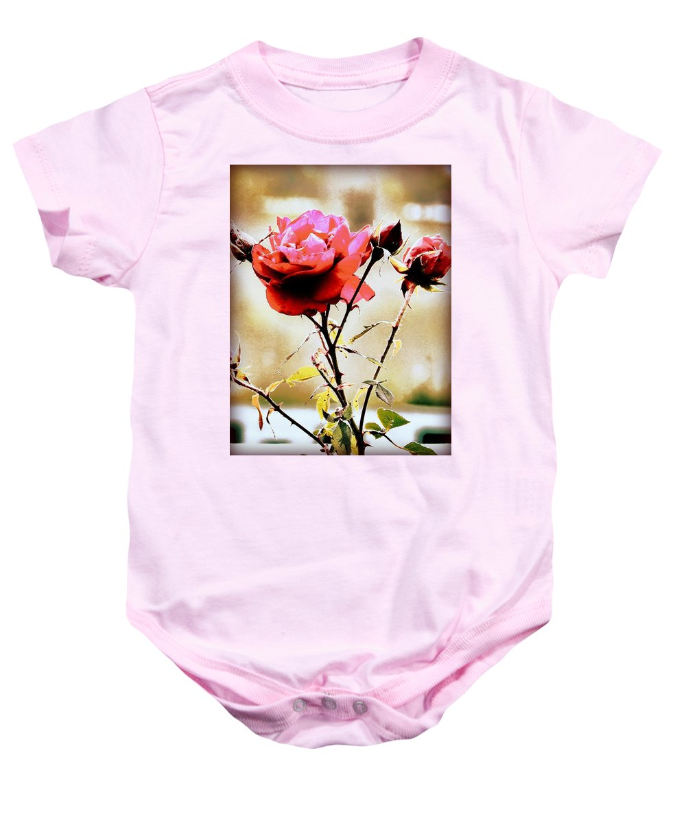Rose Baby Onesie featuring the photograph 40 Something by Faith Williams