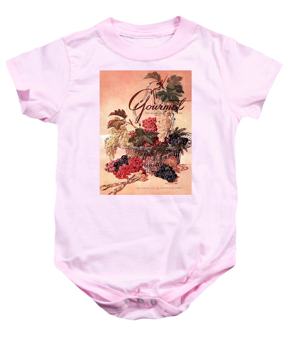 Illustration Baby Onesie featuring the photograph A Gourmet Cover Of Grapes by Henry Stahlhut