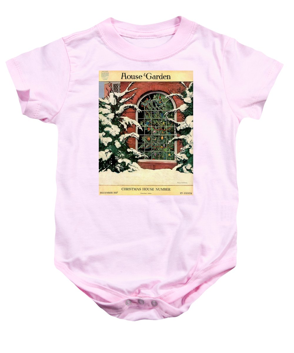 Christmas Tree Onesie.A House And Garden Cover Of A Christmas Tree Onesie For Sale By Ethel Franklin Betts Baines