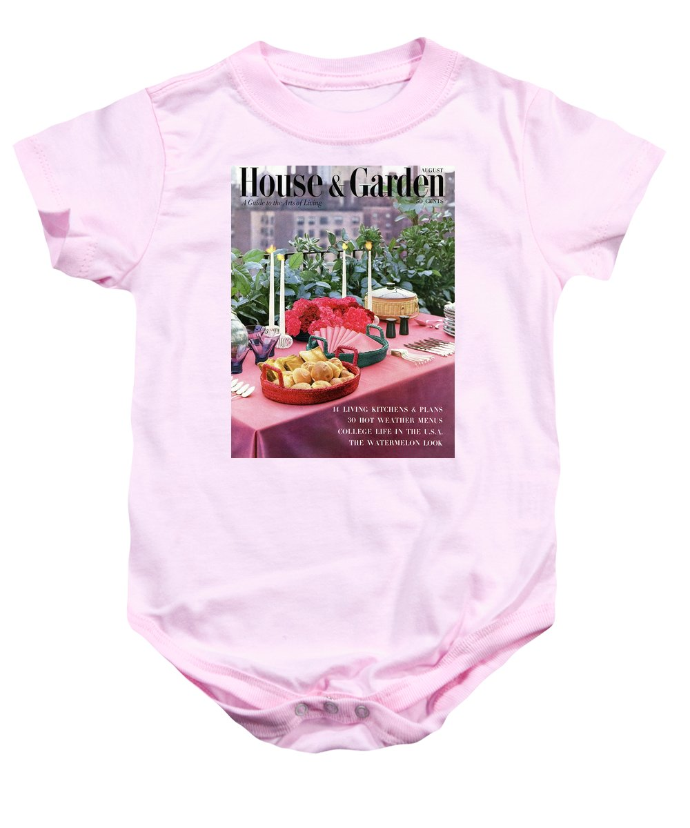Travel Baby Onesie featuring the photograph A House And Garden Cover Of Al Fresco Dining by Wiliam Grigsby