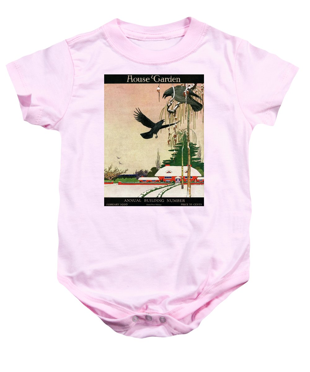 Illustration Baby Onesie featuring the photograph A House And Garden Cover Of Crows By A House by Charles Livingston Bull