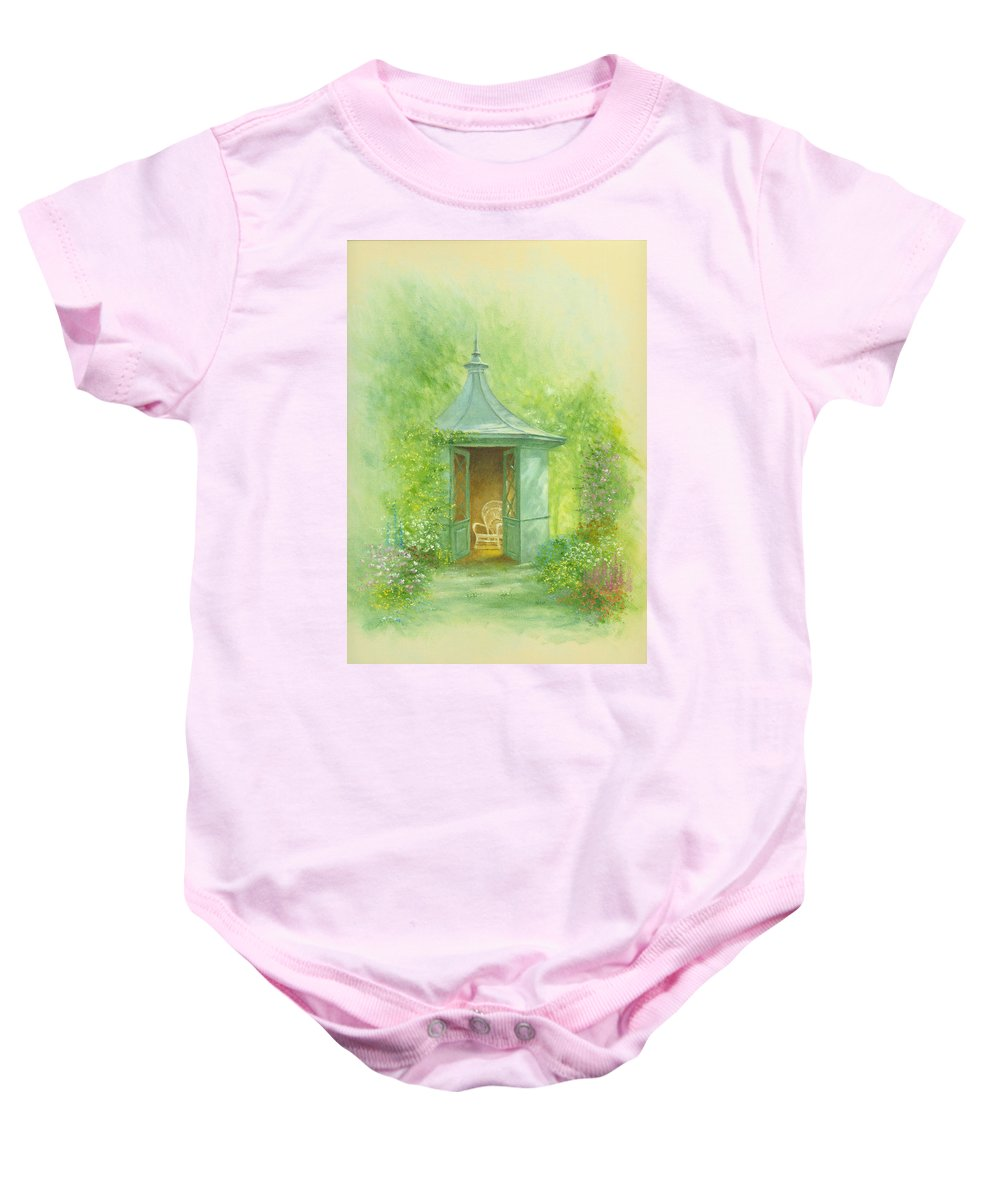 Architecture Baby Onesie featuring the photograph A Seat In The Summerhouse by Garry Walton