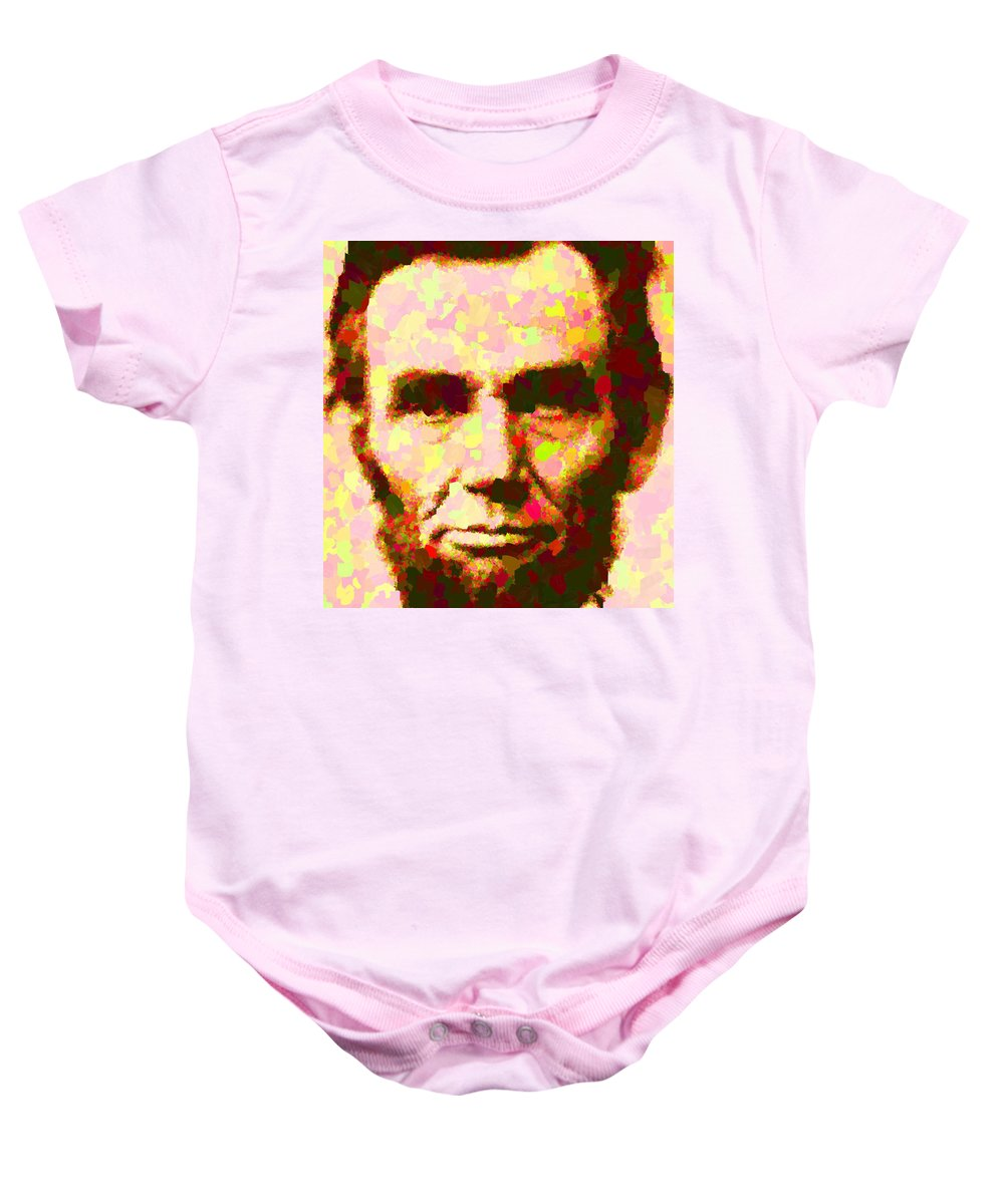 Abraham Baby Onesie featuring the painting Abraham Lincoln Portrait by Samuel Majcen