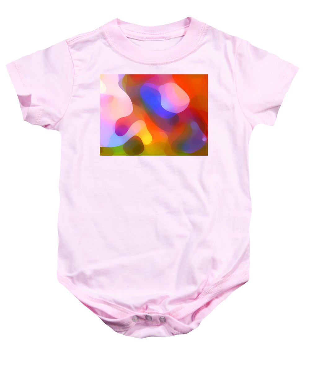 Abstract Art Baby Onesie featuring the painting Abstract Dappled Sunlight by Amy Vangsgard