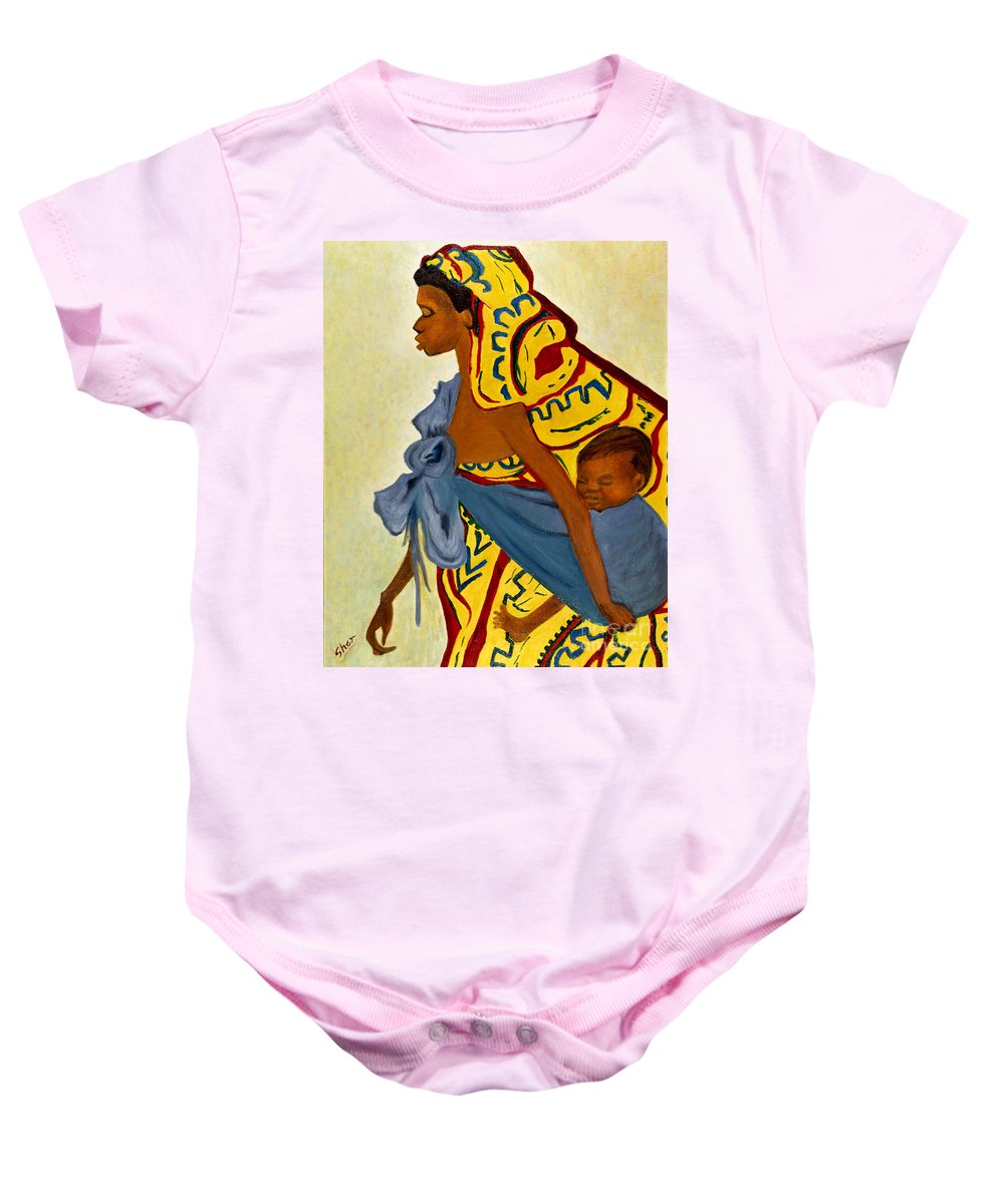African Mother Baby Onesie featuring the painting African Mother And Child by Sher Nasser