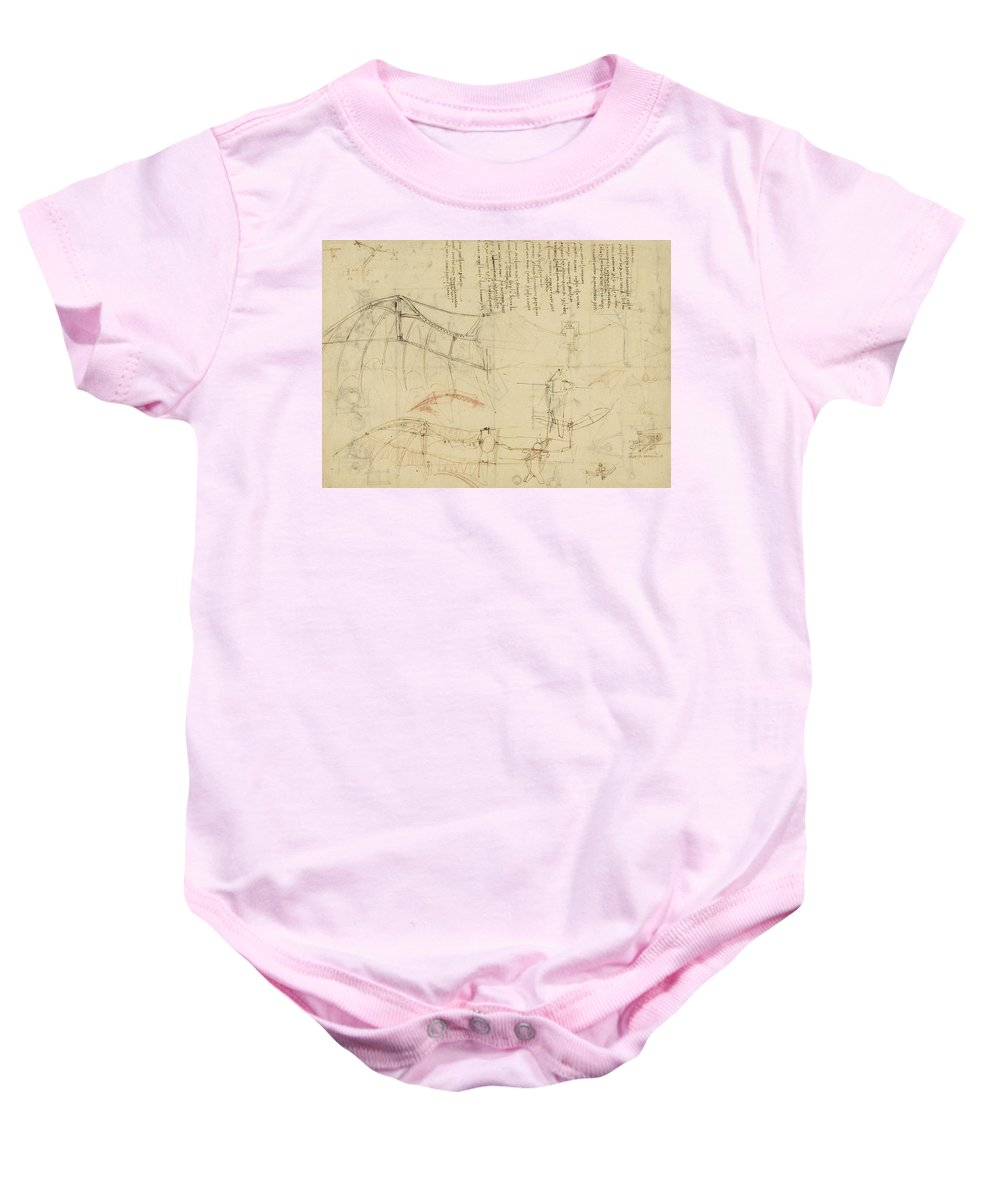 Leonardo Baby Onesie featuring the drawing Aircraft Machine Has Been Reduced To Simplest Shape Wings Directly Put On Human Body By Straps by Leonardo Da Vinci