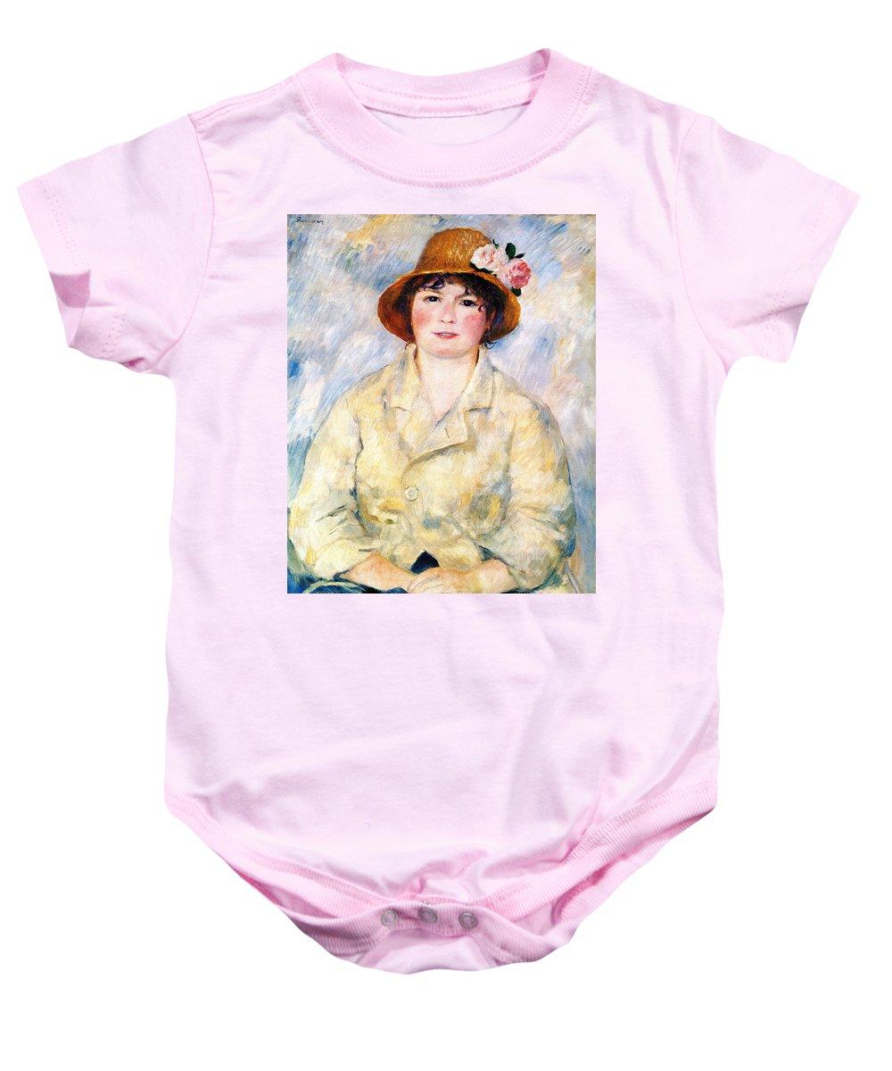 Pierre Auguste Renoir Baby Onesie featuring the digital art Aline by Pierre Auguste Renoir
