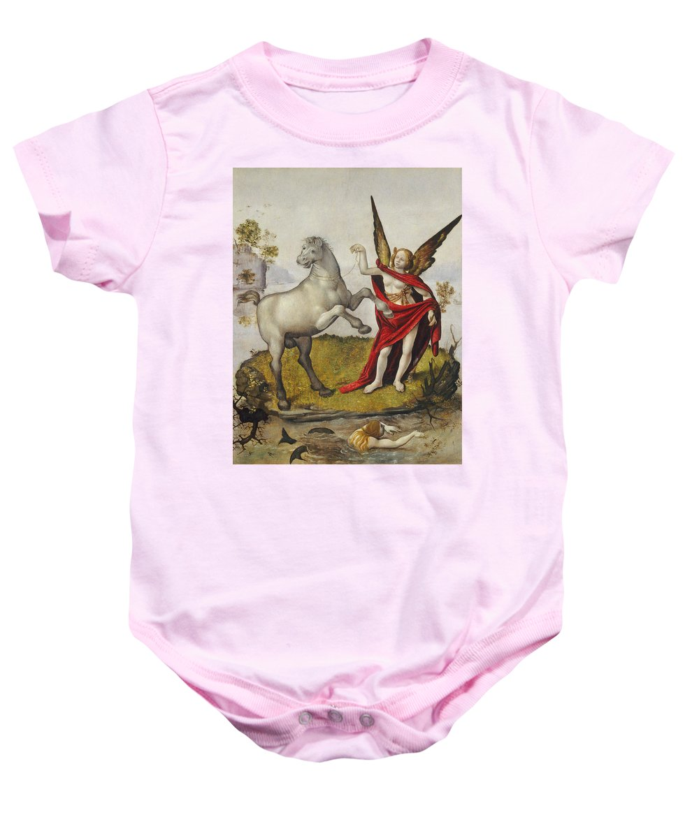 Mermaid; Horse; Winged; Female; Angel; Swimming; River; Wings; Fantasy; Mythology; Renaissance; Red Shawl; Rearing; White Baby Onesie featuring the painting Allegory by Piero di Cosimo