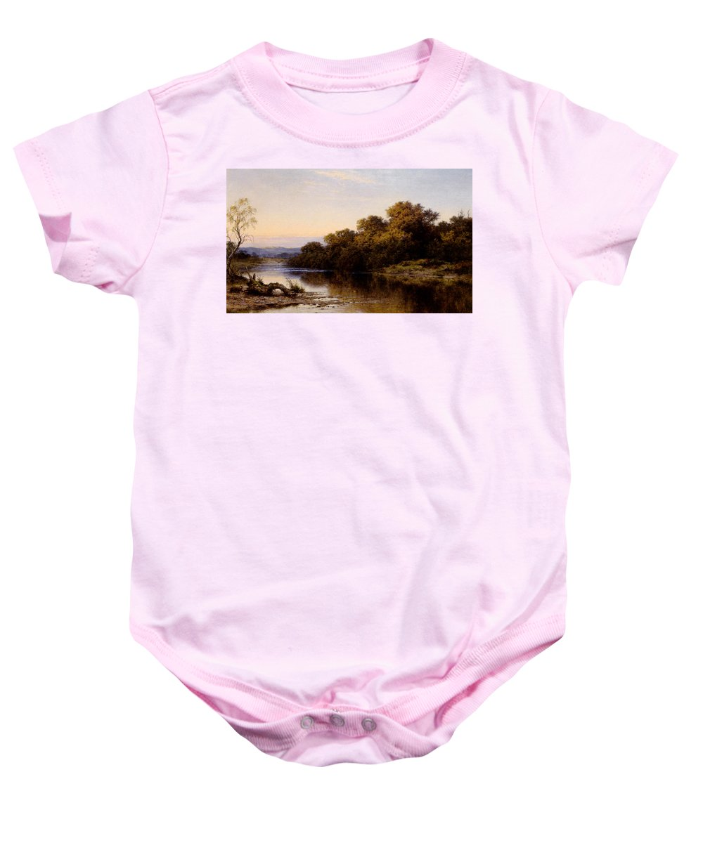 Benjamin Williams Leader Baby Onesie featuring the digital art An Autumn Evening North Wales by Benjamin Williams Leader