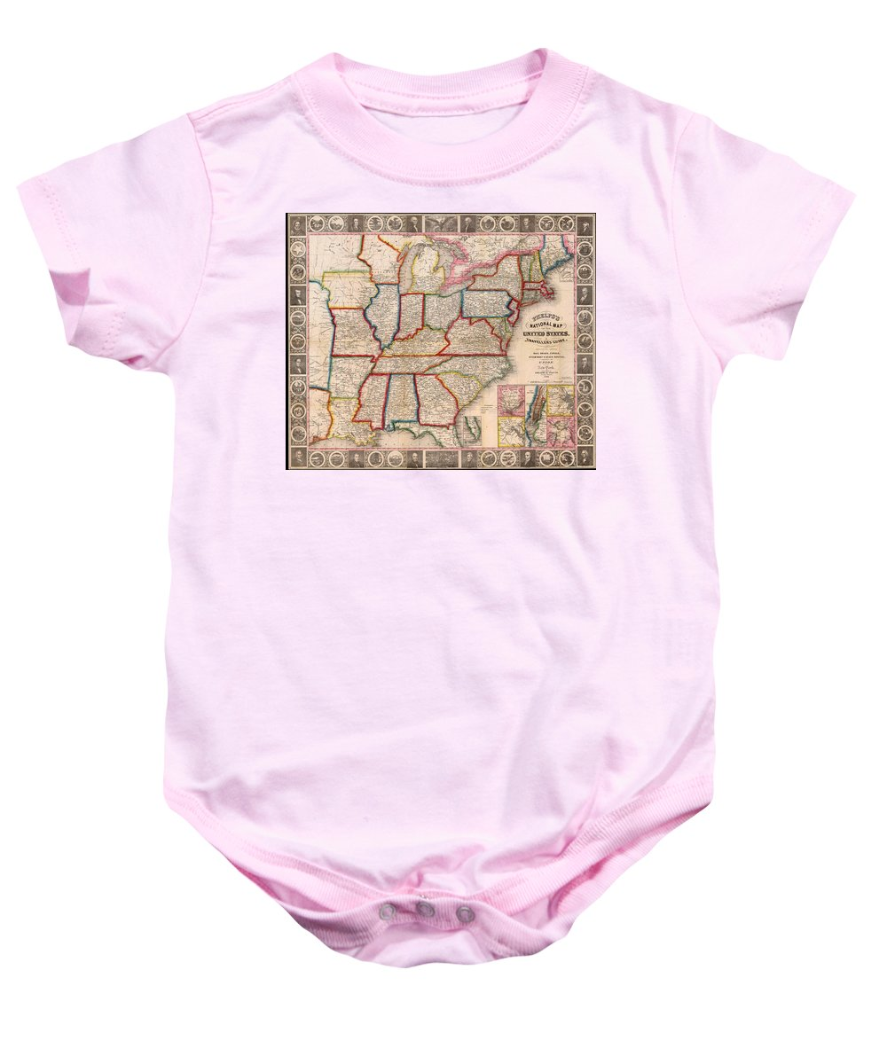 Map Baby Onesie featuring the drawing Antique Map Of The United States 1848 by Mountain Dreams
