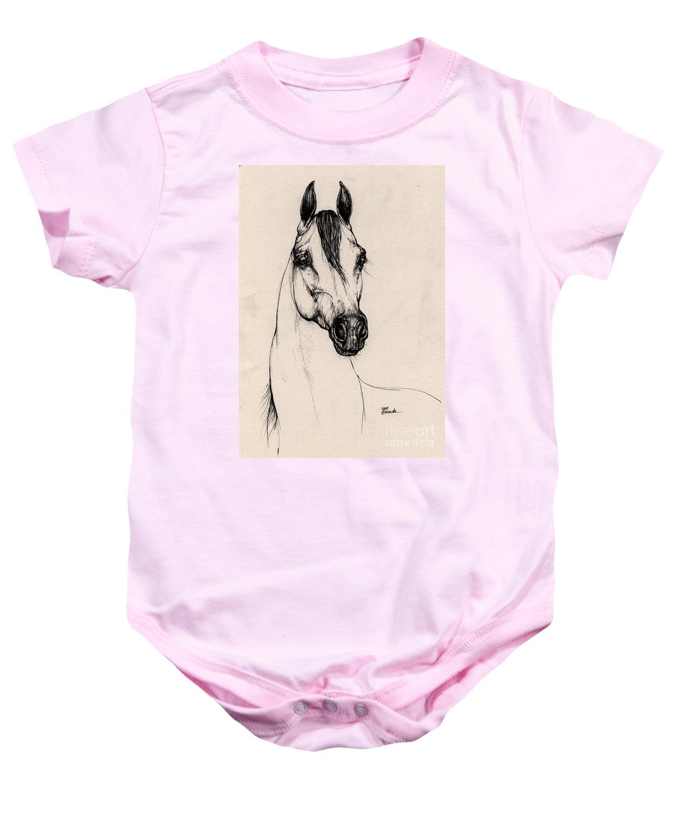 Arabian Horse Baby Onesie featuring the drawing Arabian Horse Drawing 29 by Angel Ciesniarska