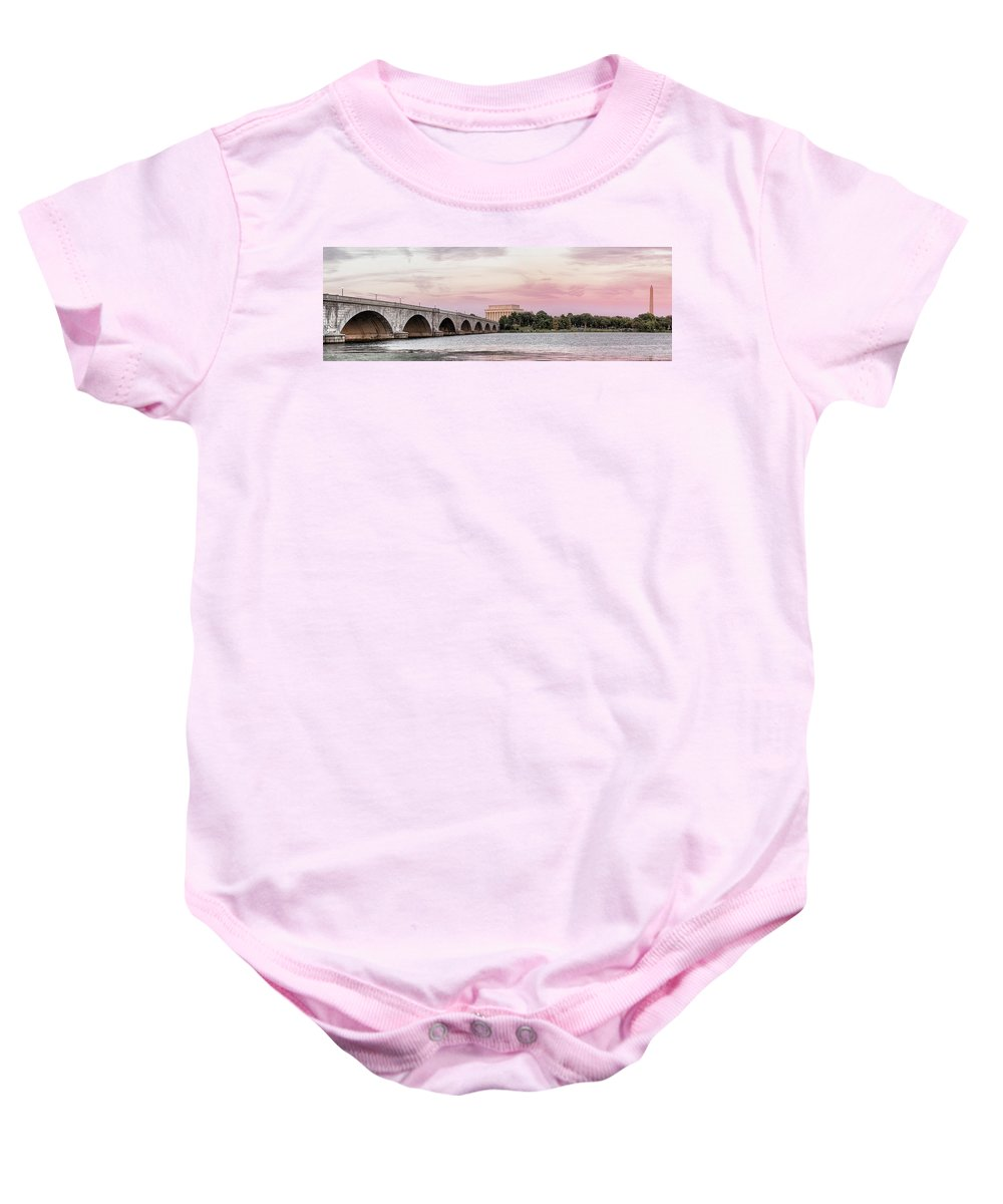 Photography Baby Onesie featuring the photograph Arlington Memorial Bridge With Lincoln by Panoramic Images