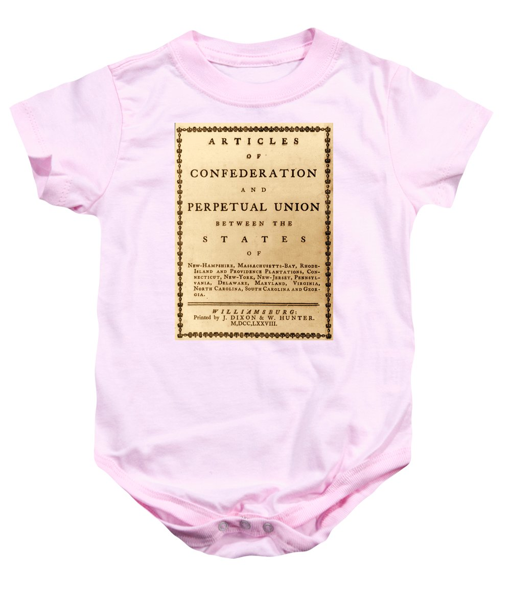 Government Baby Onesie featuring the photograph Articles Of Confederation, 1777 by Science Source