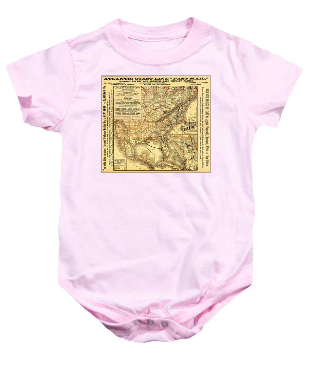 Map Baby Onesie featuring the drawing Atlantic Coast Line Railway Map 1885 by Mountain Dreams