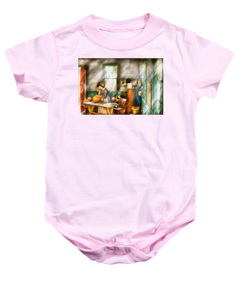 Savad Baby Onesie featuring the digital art Autumn - Halloween - Carving A Pumpkin by Mike Savad