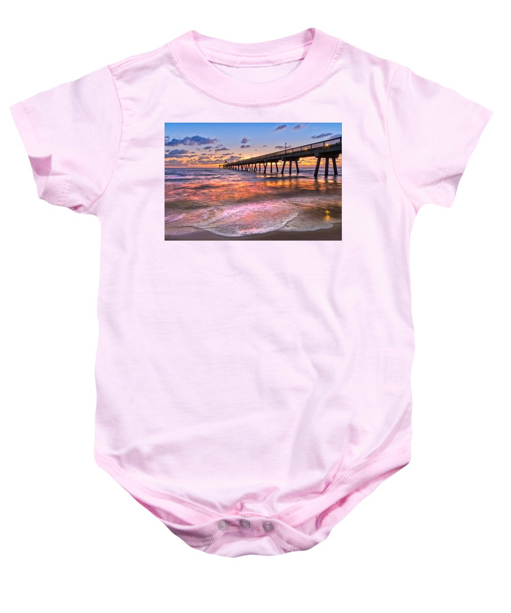 Clouds Baby Onesie featuring the photograph Beach Lace by Debra and Dave Vanderlaan