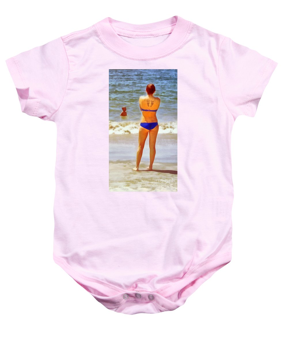 Mom Baby Onesie featuring the photograph Beach Mom by Nishanth Gopinathan