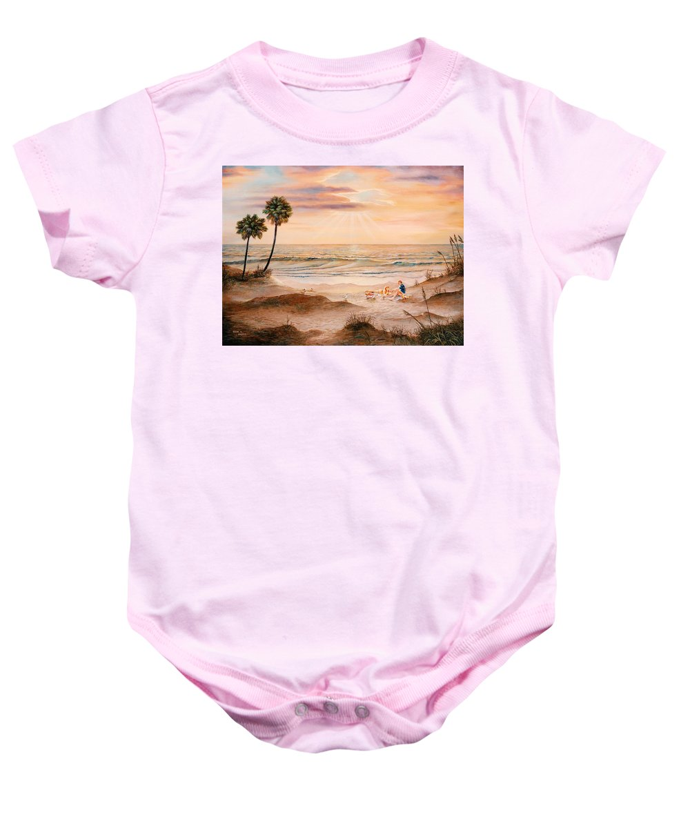 Beach Baby Onesie featuring the painting Beachcombers by Duane R Probus