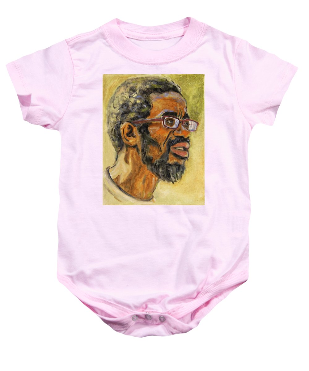 Beat Keeper Baby Onesie featuring the painting Beat Keep II by Xueling Zou