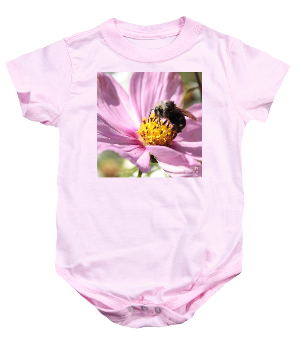Bee Baby Onesie featuring the photograph Bee On Pink Cosmos by Carol Groenen