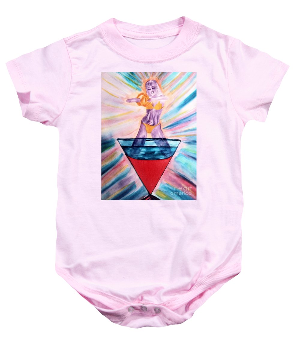 Blue Baby Onesie featuring the drawing Bellini by Melissa Darnell Glowacki