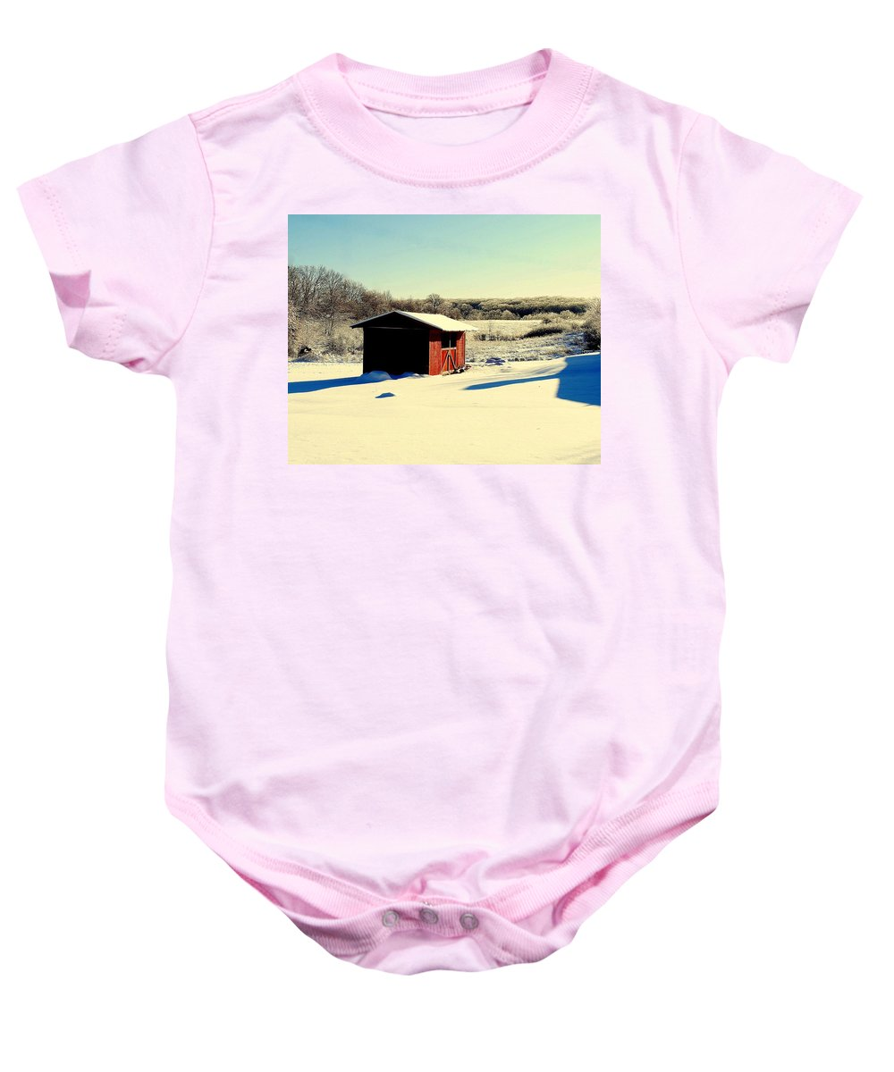 Winter Baby Onesie featuring the photograph Black And White And Color by Frozen in Time Fine Art Photography