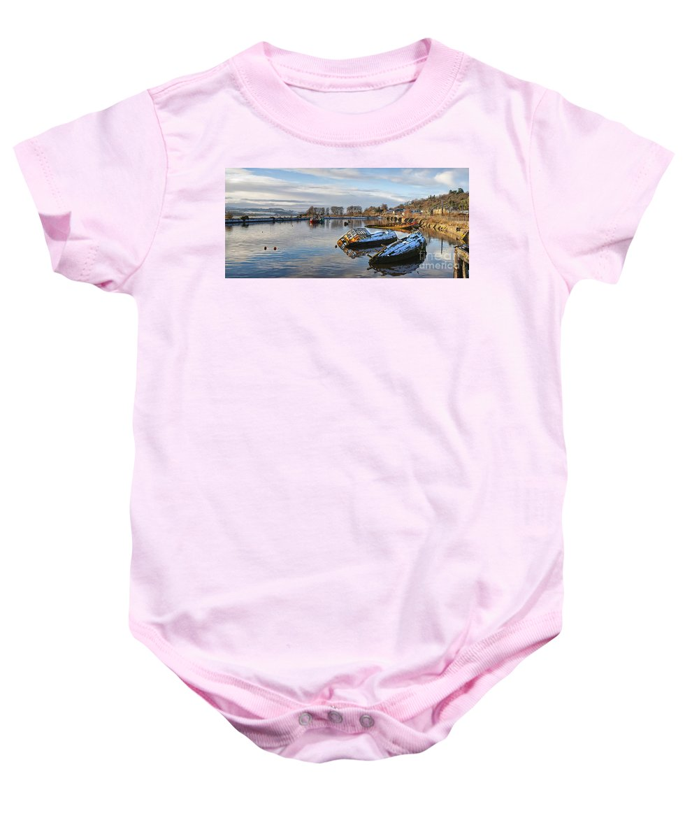 Bowling Baby Onesie featuring the photograph Bowling Harbour Panorama 01 by Antony McAulay