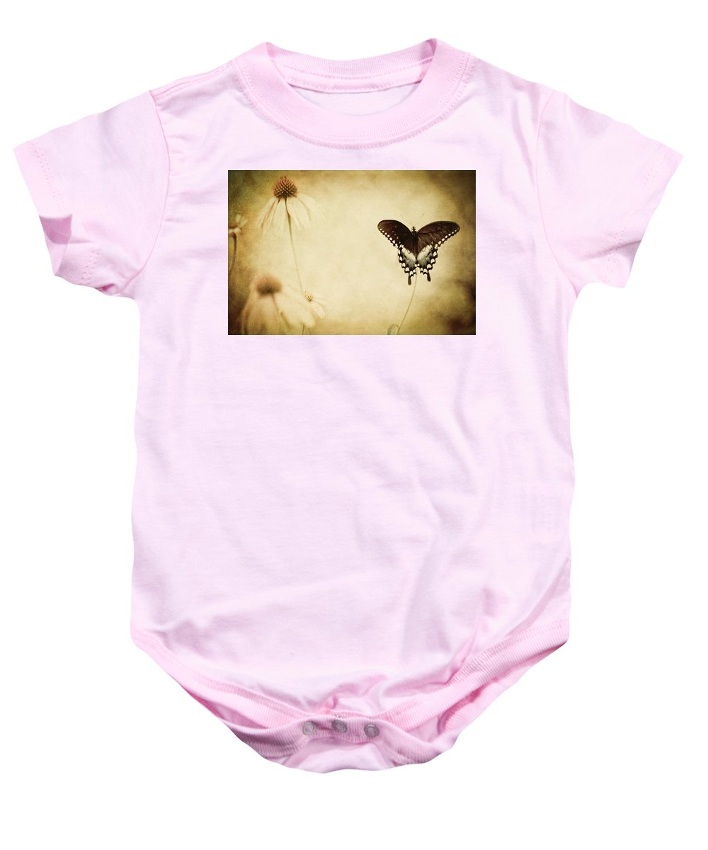 Butterfly Baby Onesie featuring the photograph Butterfly Flower by Kim Henderson