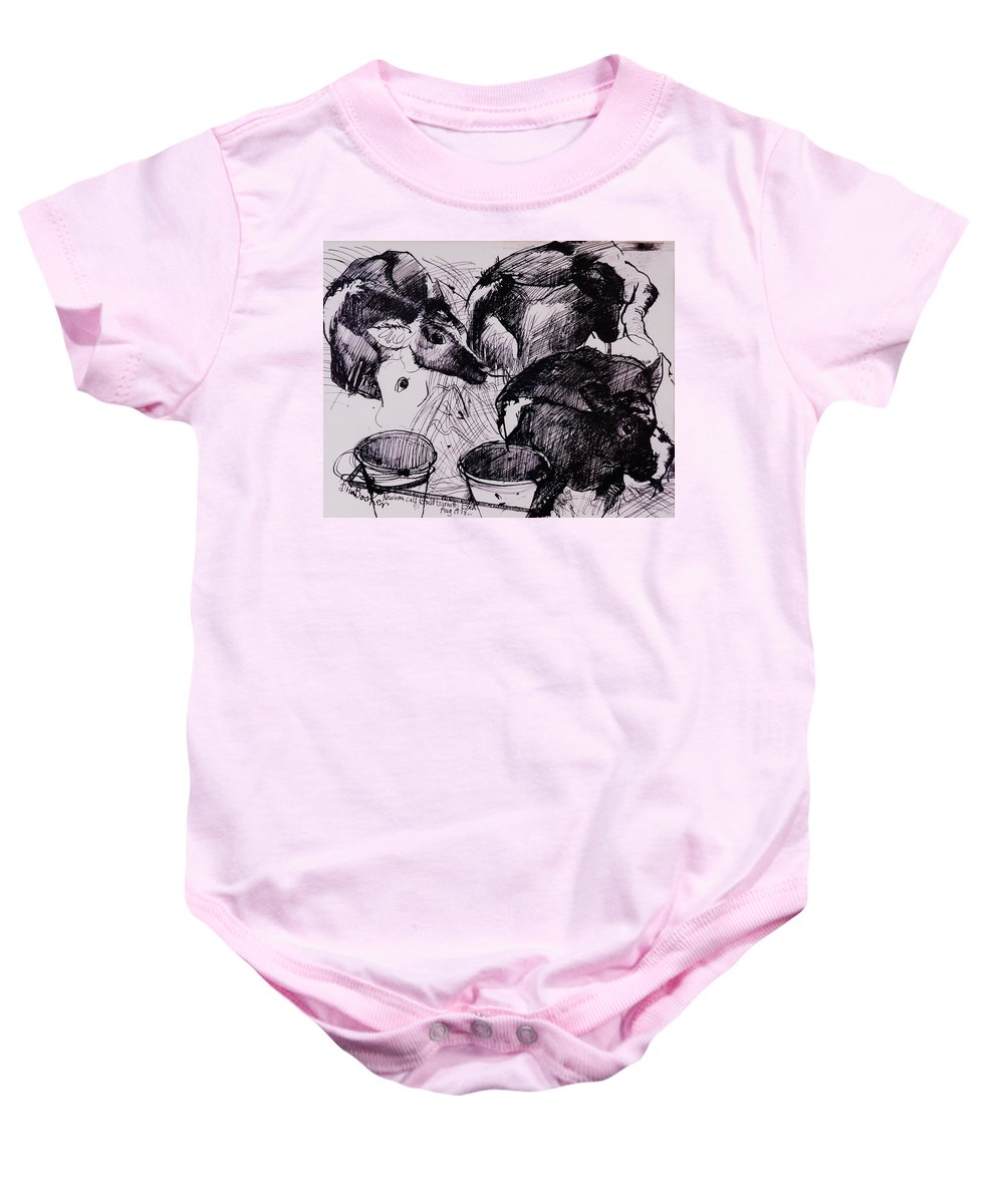 Calf Baby Onesie featuring the photograph Calves, Damp, Newborn, 1978 Pen & Ink On Paper by Brenda Brin Booker