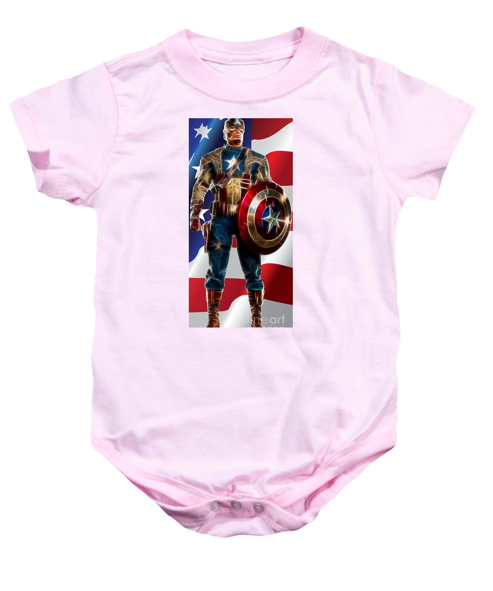 Spiderman Baby Onesie featuring the digital art Captain America In Front Of Old Glory by Doc Braham