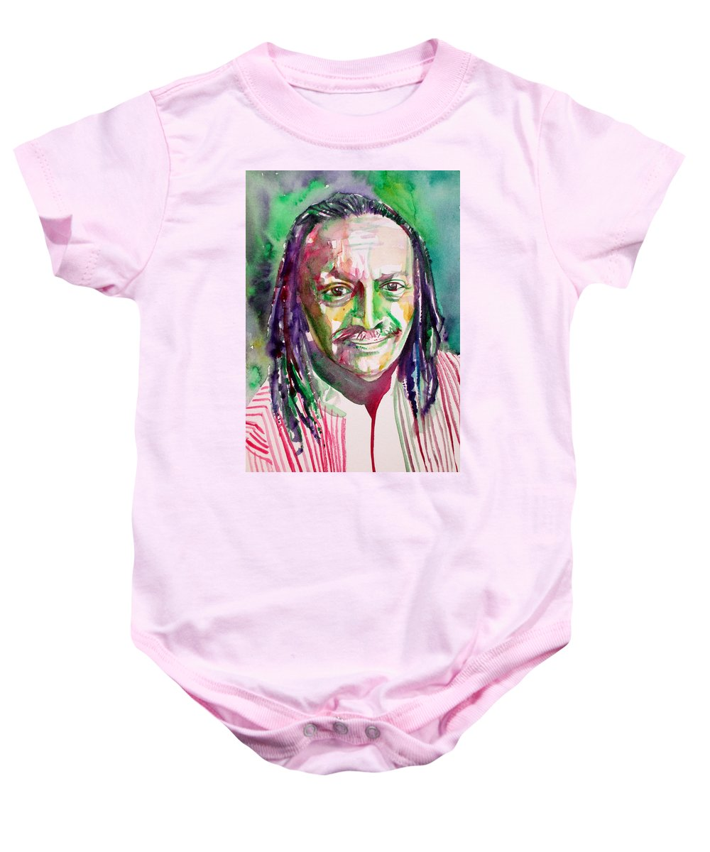 Cecil Baby Onesie featuring the painting Cecil Taylor - Watercolor Portrait by Fabrizio Cassetta