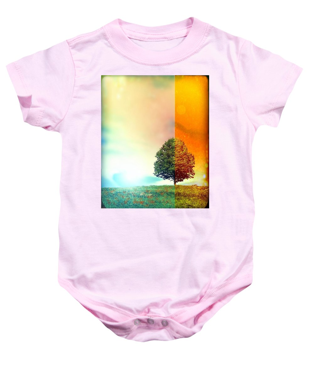Tree Baby Onesie featuring the digital art Change Of The Seasons - The Moment When Summer Meets With Fall by Lilia D