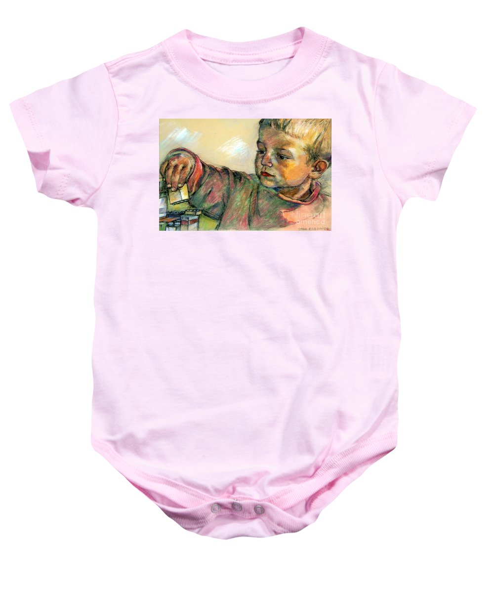 Charlie Baby Onesie featuring the drawing Charlie by Stan Esson