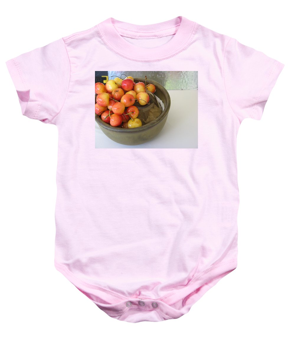 Cherries Baby Onesie featuring the photograph Cherries And Glass Filler by Rich Franco