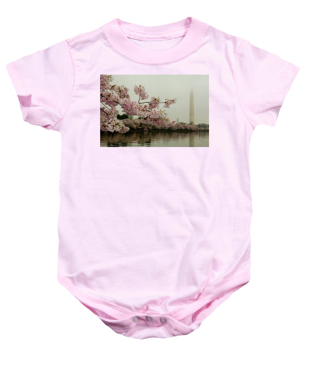 Tidal Basin Baby Onesie featuring the photograph Cherry Blossoms On A Foggy Morning by Leah Palmer