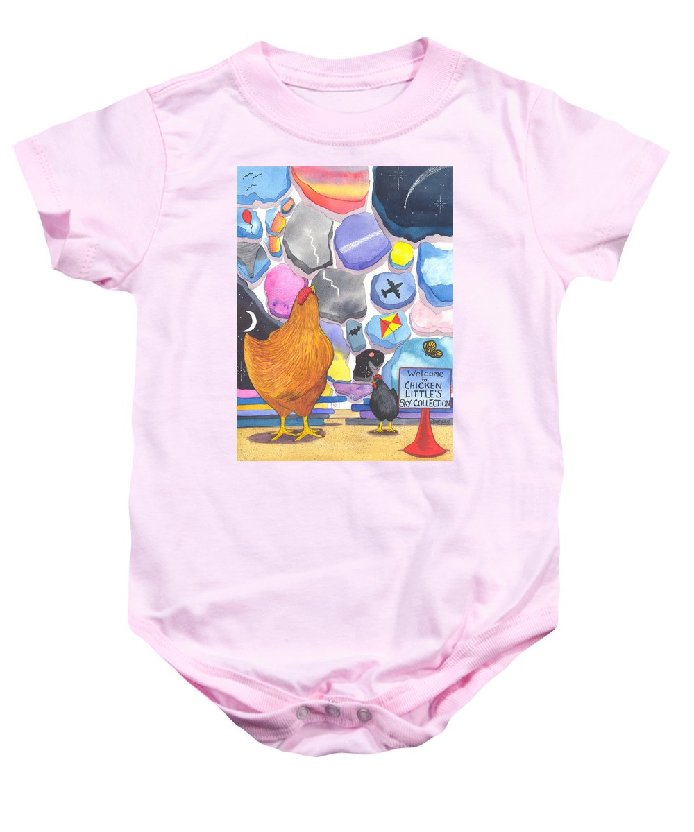 Chicken Baby Onesie featuring the painting Chicken Littles Sky Collection by Catherine G McElroy
