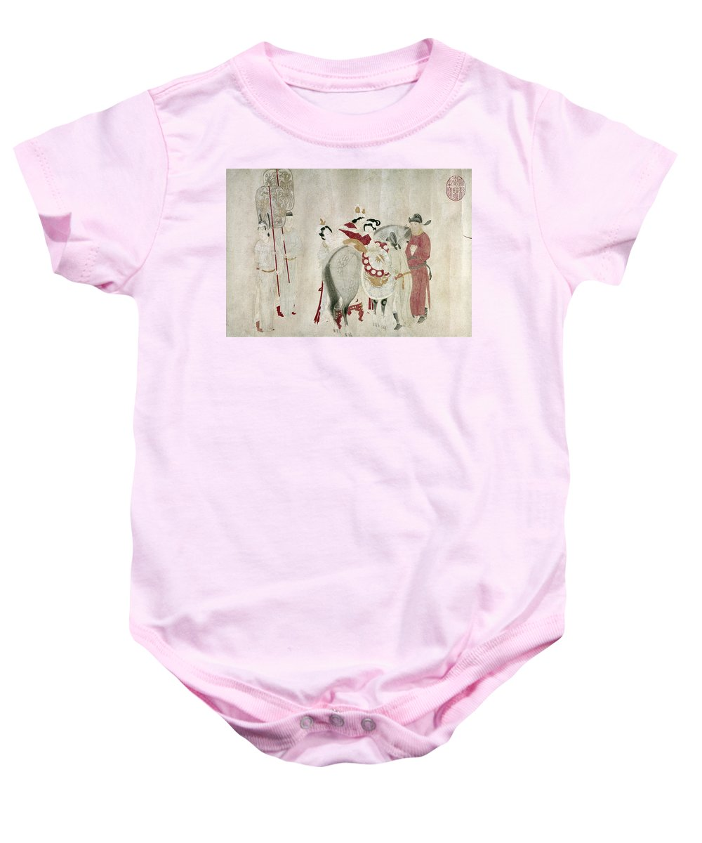 8th Century Baby Onesie featuring the painting China Concubine & Horse by Granger