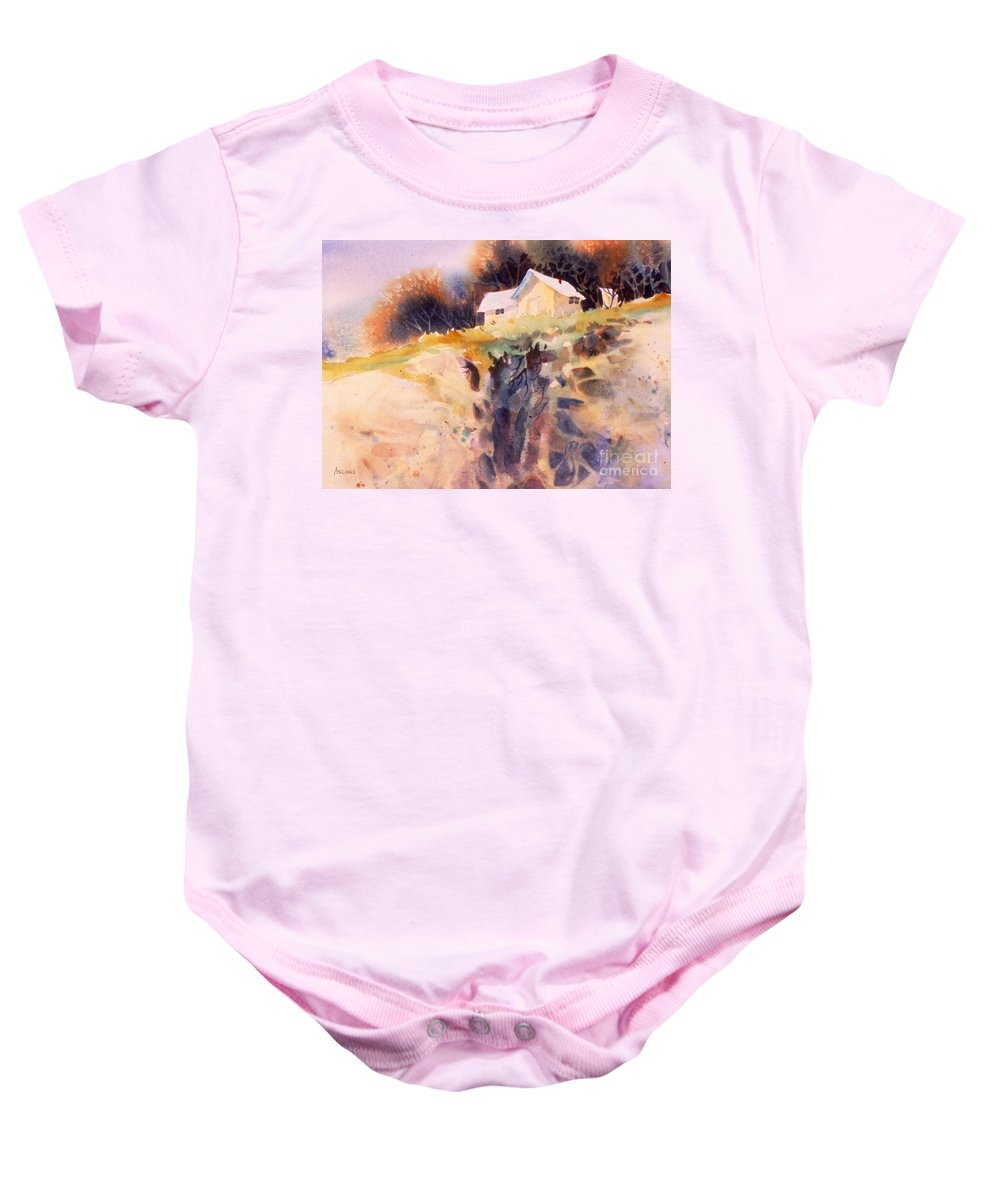 Cliffhanger Baby Onesie featuring the painting Cliffhanger by Teresa Ascone