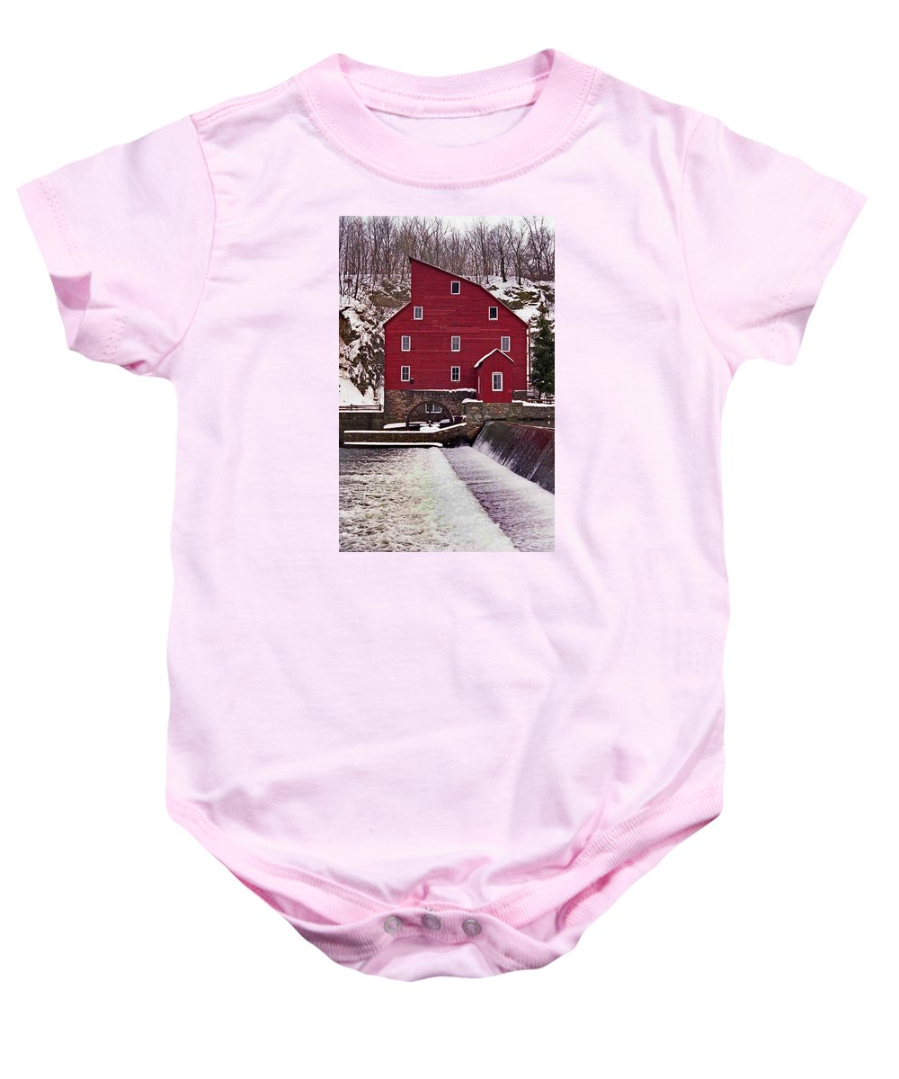 Mill Baby Onesie featuring the photograph Clinton Mill by Skip Willits