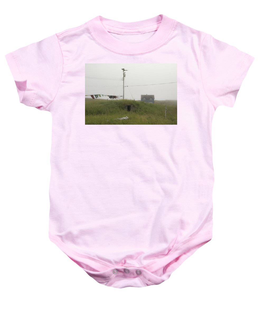 Elliston Baby Onesie featuring the photograph Clothes Line And Fog by David Stone