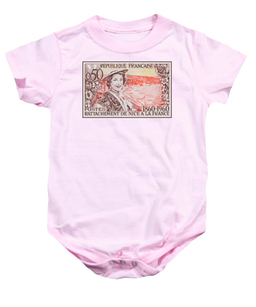 Coat Baby Onesie featuring the painting Connecting The Nice France 1860-1960 by Jeelan Clark