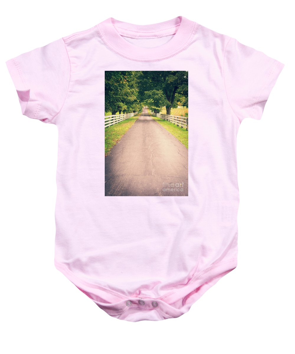 Vermont Baby Onesie featuring the photograph Country Back Roads by Edward Fielding