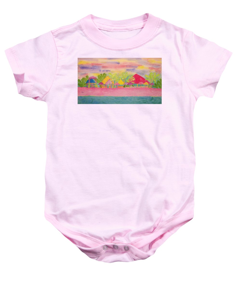 Cozumel Baby Onesie featuring the painting Cozumel Kaleidoscope by Rhonda Leonard