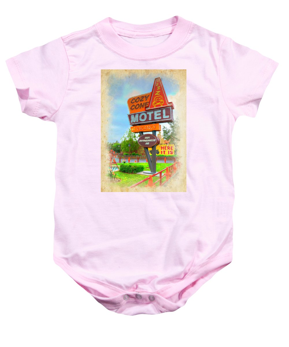 The Cozy Cone At Disney California Adventure In Anaheim Baby Onesie featuring the photograph Cozy Cone by Ricky Barnard