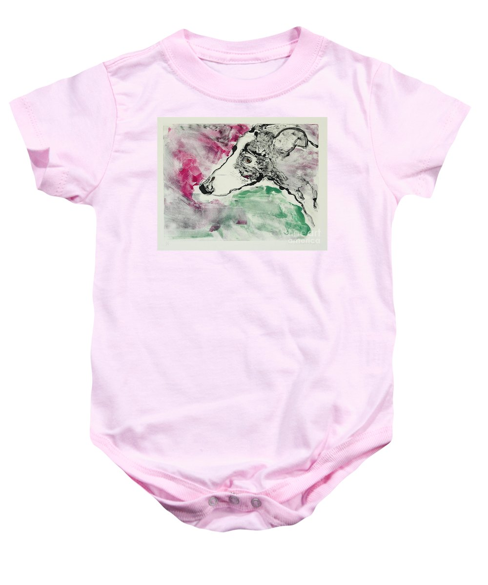 Greyhound Baby Onesie featuring the painting Cyrus by Cori Solomon