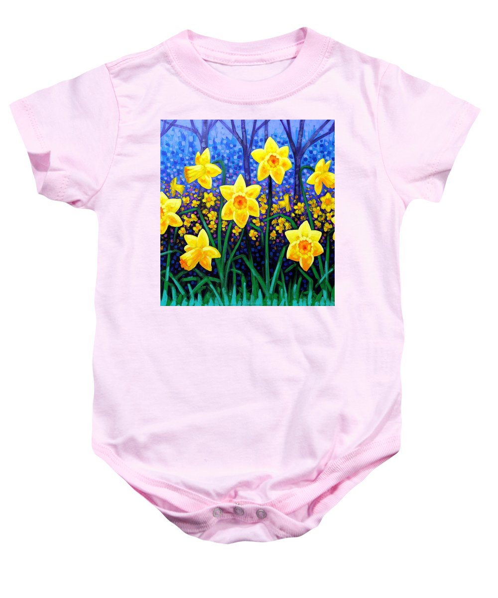 Acrylic Baby Onesie featuring the painting Daffodil Dance by John Nolan
