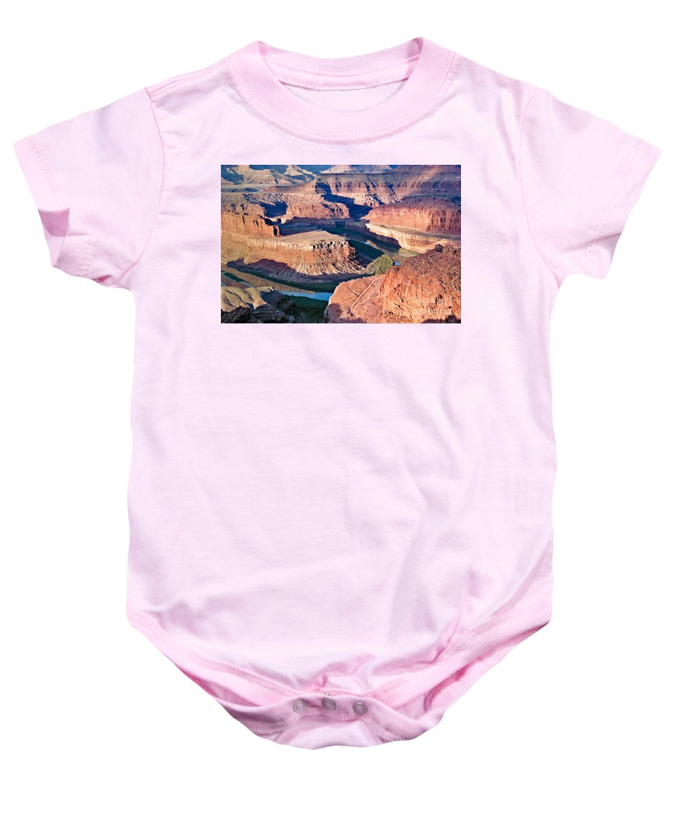Dead Horse Point Baby Onesie featuring the photograph Dead Horse Point by Mae Wertz