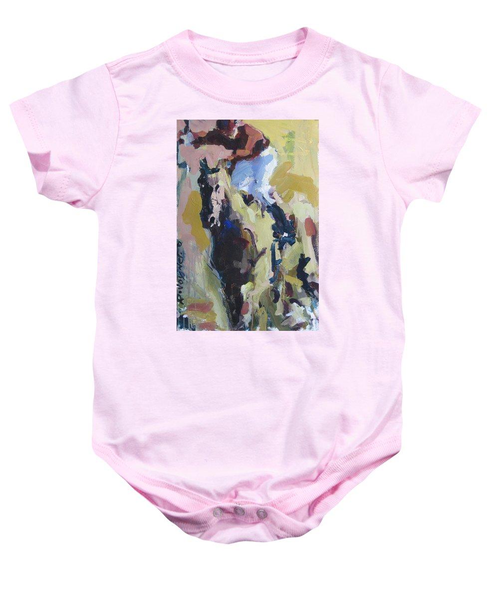 Horse Painting Baby Onesie featuring the painting Derby Dwellers by Robert Joyner
