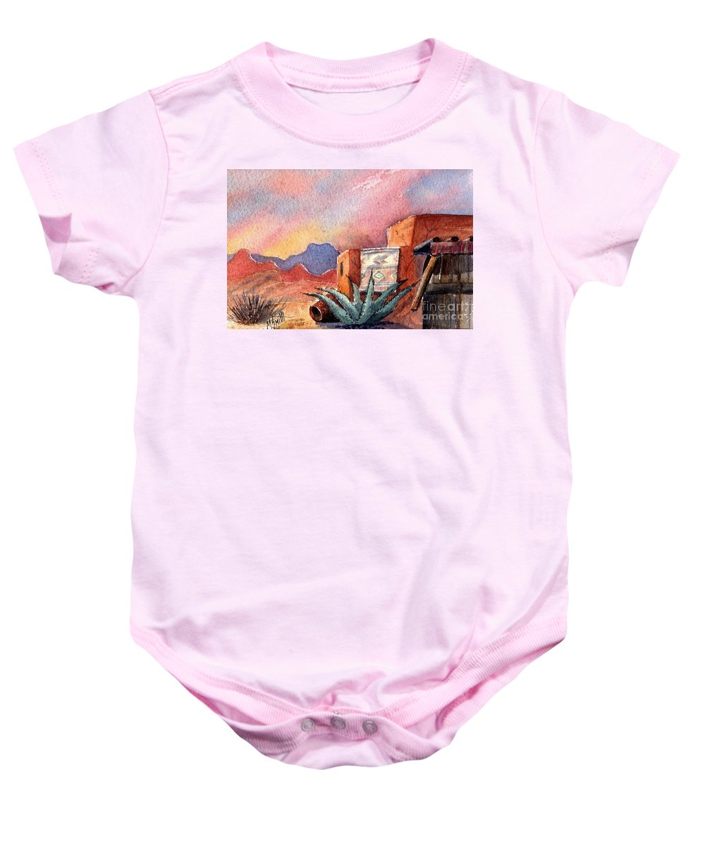 Southwest Painting Baby Onesie featuring the painting Desert Doorway by Marilyn Smith