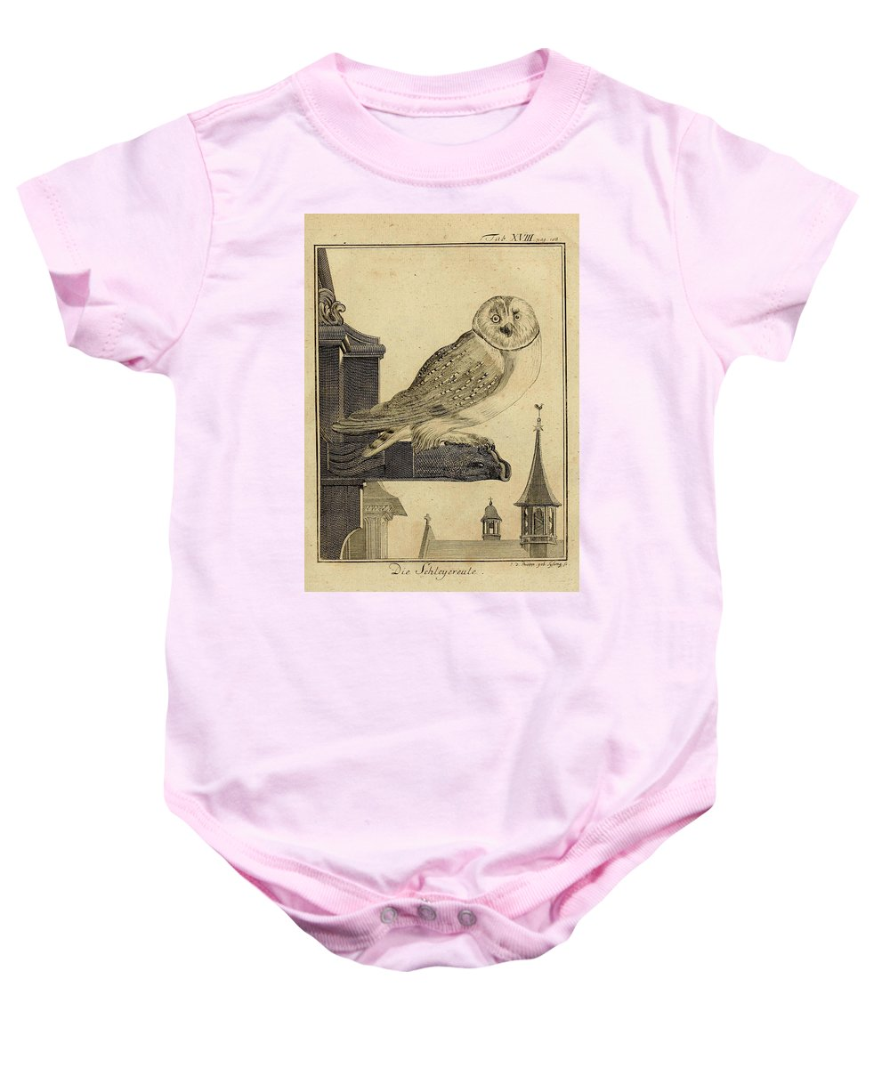 Die Baby Onesie featuring the drawing Die Schleyer Eule by Philip Ralley